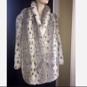 Rare Vintage Snow Leopard Faux Fur Coat